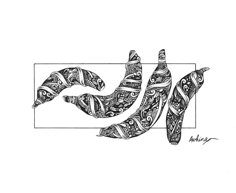 Mandala Print - '4 Bananas'