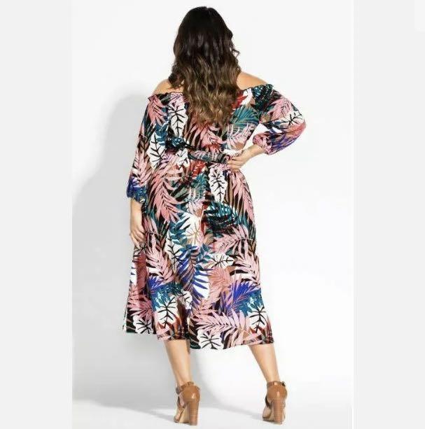 NWT City Chic Copacabana Midi Dress Off shoulder sz 14 16 18 Multicolour Floral