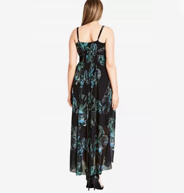 NWT City Chic Floral Black Maxi Dress sz 14 16 XS Small