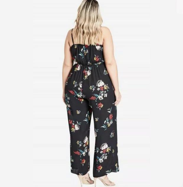 NWT City Chic Flowerette Floral Jumpsuit sz 16 18 22 S M XL Black