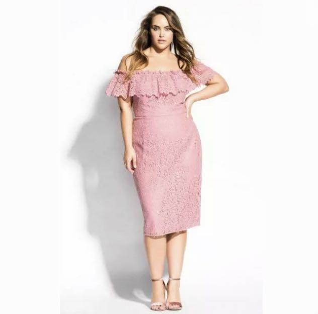 NWT City Chic Off Shoulder Lace Midi Dress sz 14 18 20 22 pink party cocktail wedding Race