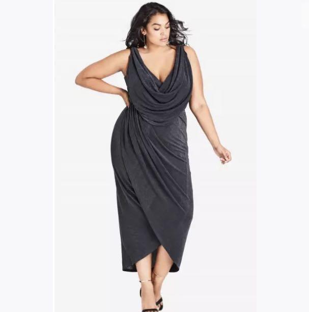 NWT City Chic Sleeveless Luxe Drape Midi Dress sz 16 20 Smoke Black