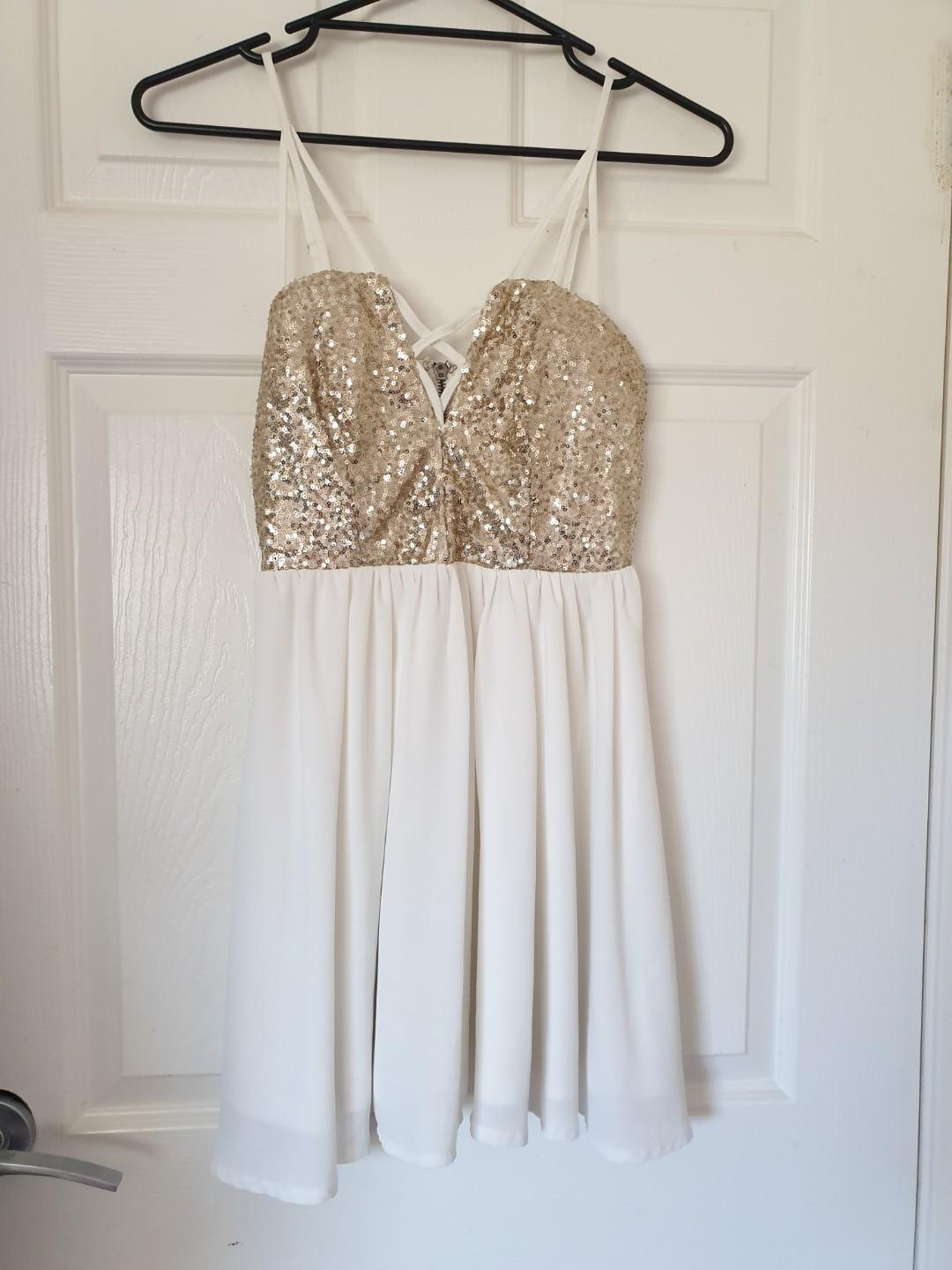 Gorgeous Gold Sequined Dress with Criss-cross Details