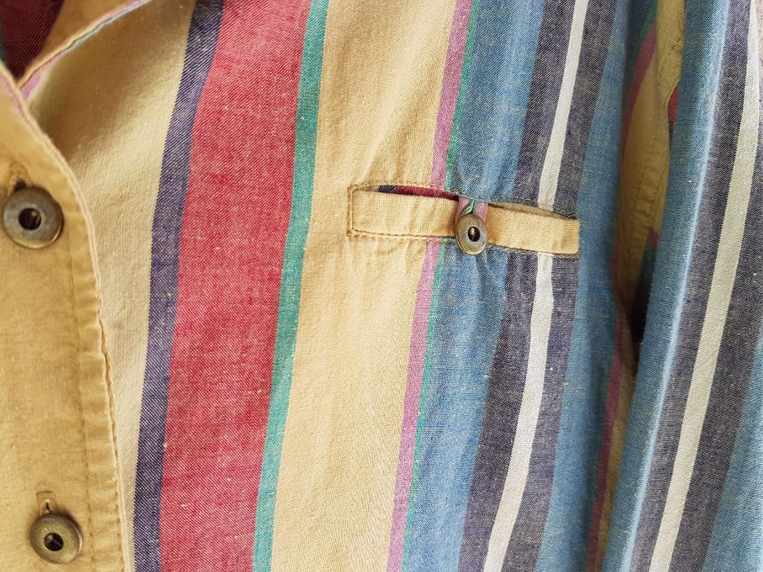 Vintage 90s Striped Instagram Button Up Shirt S Unisex