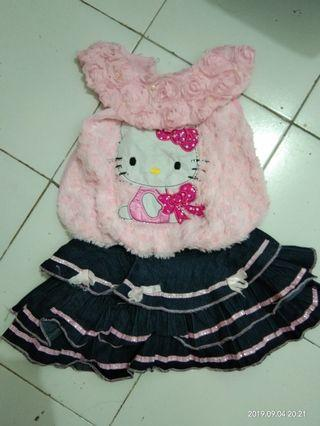 Dress Anak bulu kitty