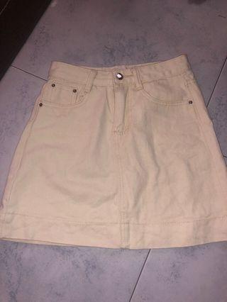 bn white denim skirt