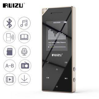 RUIZU D05 Mp3 Player with Bluetooth, Music Player with FM Radio, Built-in Speaker, Heavy Metal Touch Button, 80hrs Playback, 128GB Expandable
