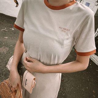 🚚郵局免運 全新 Mercci22 簡約印字滾邊棉質上衣米白M 美國棉