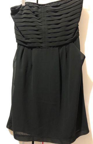 黑色 平口 絲質洋裝