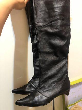 黑色 真羊皮 及膝靴