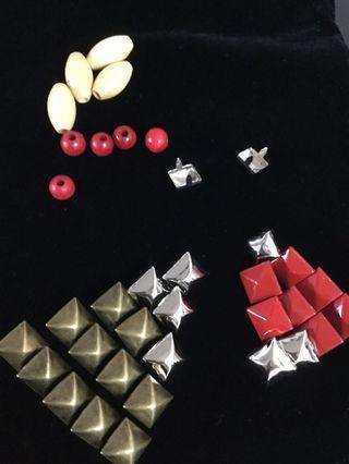 手工藝材料-方形鉚丁、民族風木珠