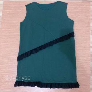 GREEN RUFFLE TOP DRESS KAOS TEE BANGKOK NEW