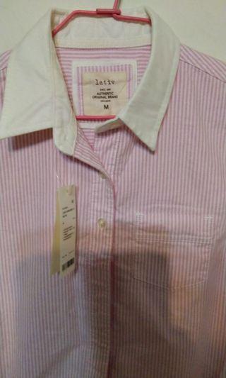 Lativ白領牛津條紋長袖女襯衫M號