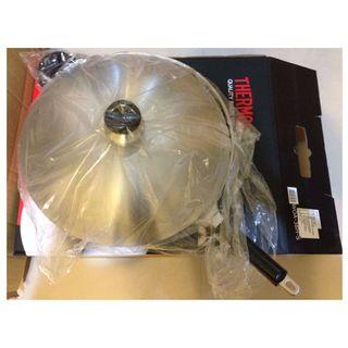 (可自取)【斷捨離|二手鍋+鏟】THERMOS膳魔師38cm單柄附耳炒鍋貝殼G型鍋蓋設計WOA-38H-S+鍋鏟Z-KE13