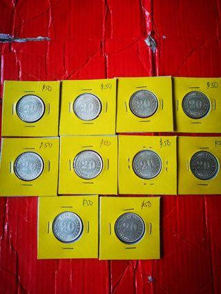 Kwangtung 20 cents 1920 the 9th year, c/UNC, selling at $50 each. 10 pcs $500
