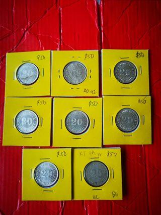 Kwangtung 20 cents silver 1920, 9th year issue, C/UNC selling at $50each, 8 pcs at $400