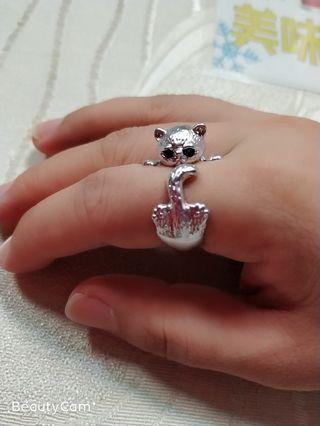 鈦鋼戒指銀色貓咪戒指