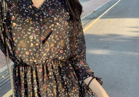 韓國代購Doboki購入 氣質雪紡黑色碎花洋裝  長洋 復古