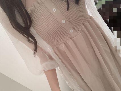 仙氣爆表 杏色洋裝 吊帶杏色連衣裙 溫柔小姊姊