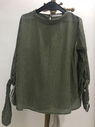 Stripe Blouse Dusty Green
