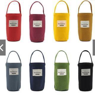 全新時尚重磅帆布環保杯袋 (黑)