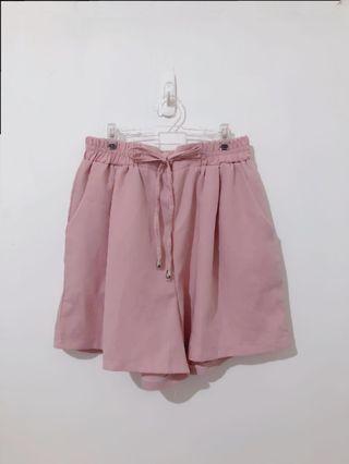 裸粉氣質紡紗高腰褲
