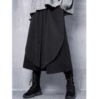 全新暗黑系列拼接寬褲