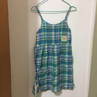 日系少女吊帶格紋短裙