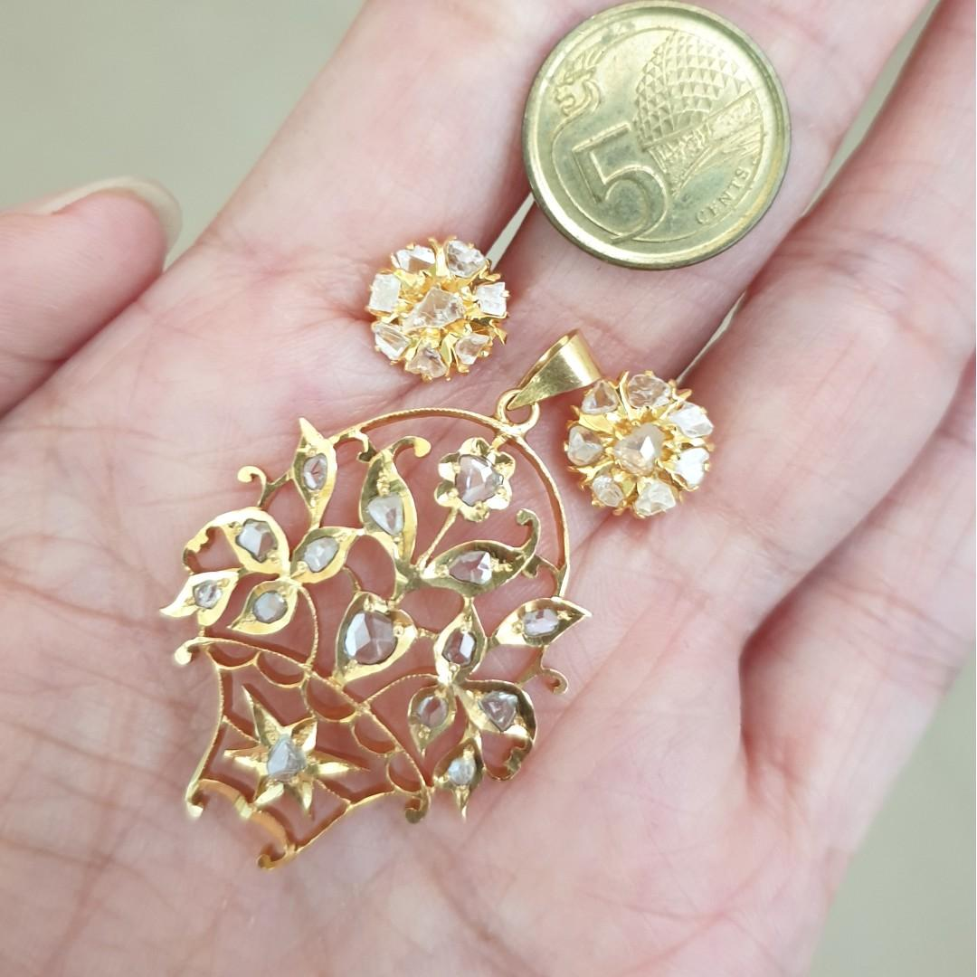 18k Intan Earrings (Peranakan Diamond)
