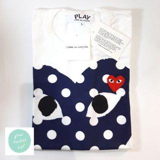 CDG Comme des Garcons Play T-shirt with Polka Dot Big Heart Navy L