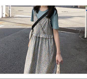 🈹大降價🈹雙肩帶荷葉邊碎花吊帶裙