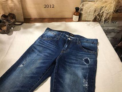 韓國製直筒微刷白顯瘦牛仔褲M碼