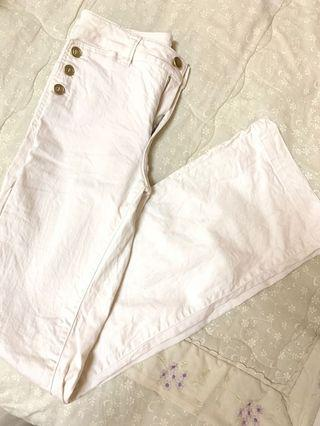 Massimo Dutti White Pants Bellbottom