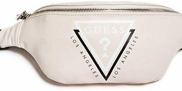 New GUESS ? 🔺 triangle LOGO GYM WAIST PACK bum fanny bag shoulder back body bag crossbody sling bag front pocket pale pink gucci kaws