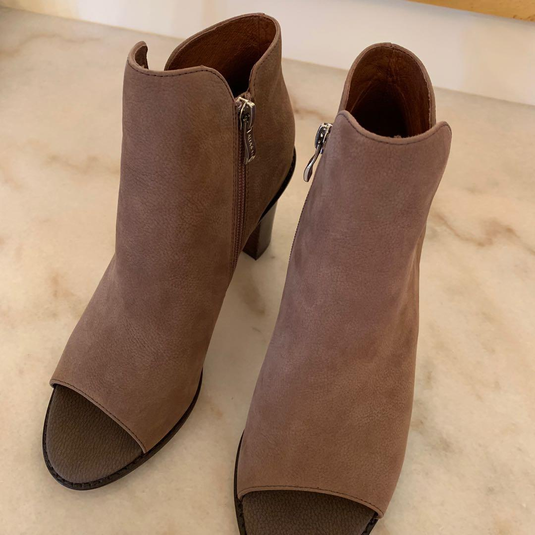 Alias Mae Brown/Taupe Wooden Heel Peep Toe Leather Boots