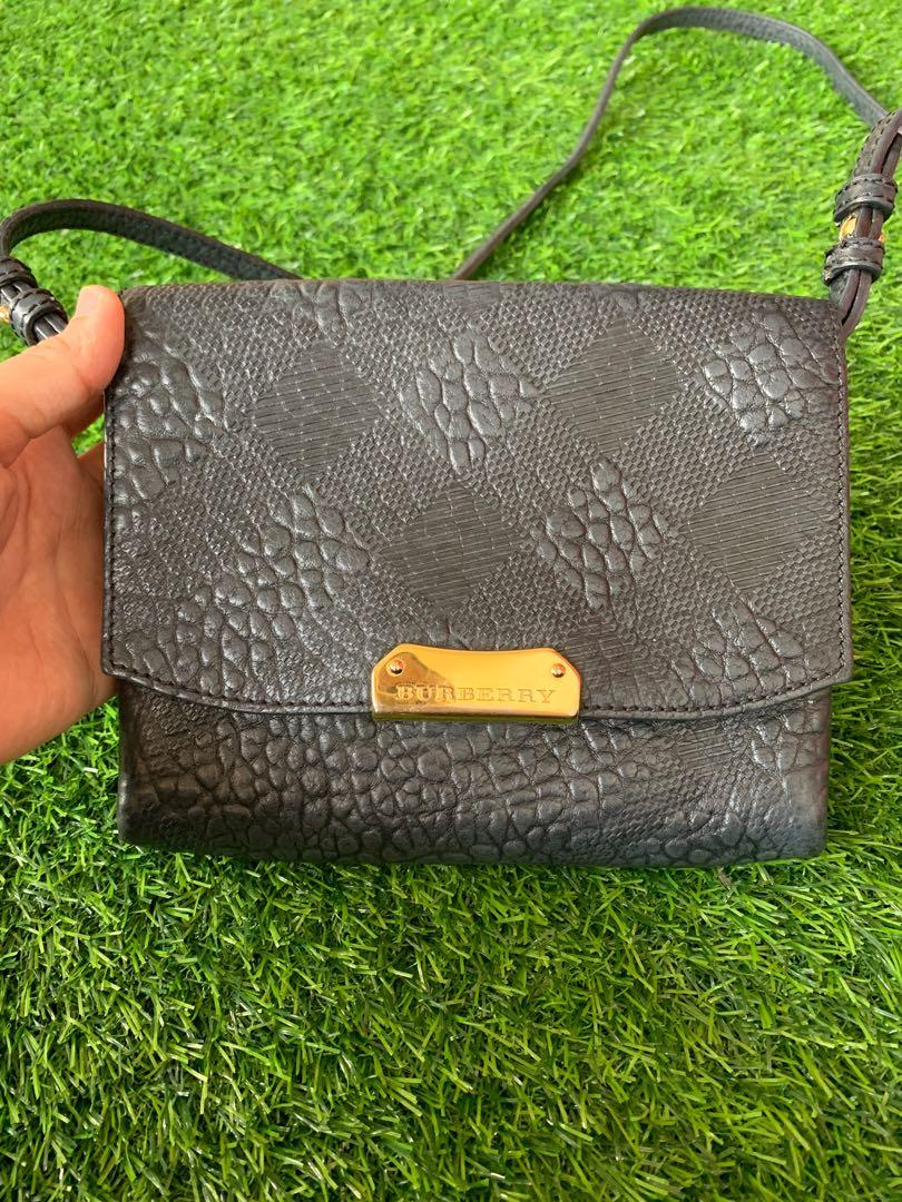 Authentic Burberry Embossed Leather Crossbody Bag