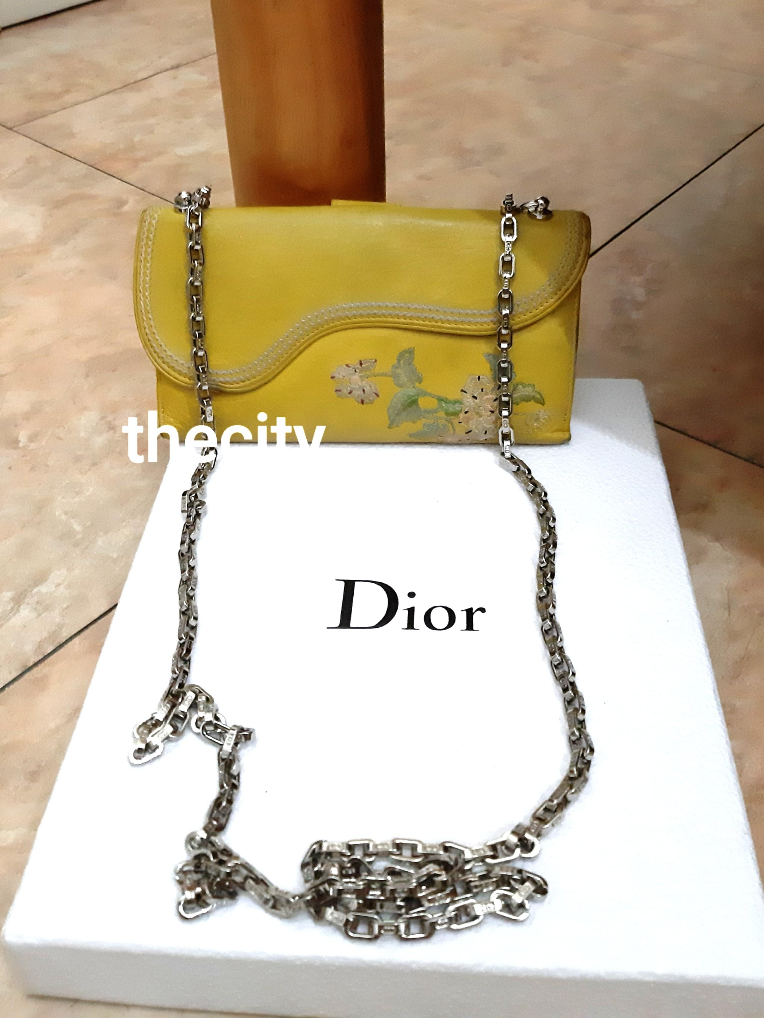 AUTHENTIC DIOR SADDLE ,  FLOWER DESIGN  WALLET - SILVER HARDWARE - OVERALL STILL GOOD - CLEAN POCKETS & INTERIOR - CLASSIC VINTAGE,  NOT FOR FUSSY BUYERS - COMES WITH EXTRA HOOKS & DIOR CHAIN STRAP FOR CROSSBODY SLING -
