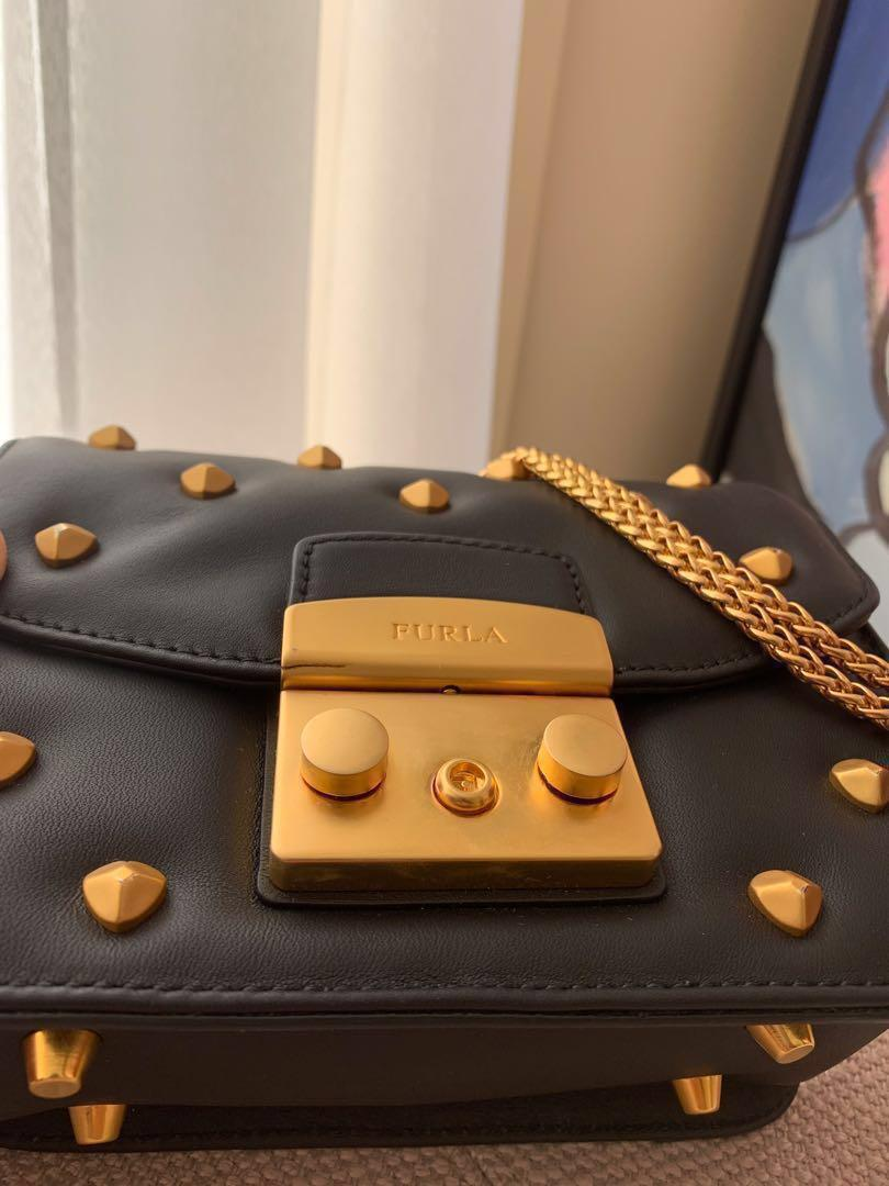 Brand new limited edition Furla bag- Metropolis Mini with heart stads