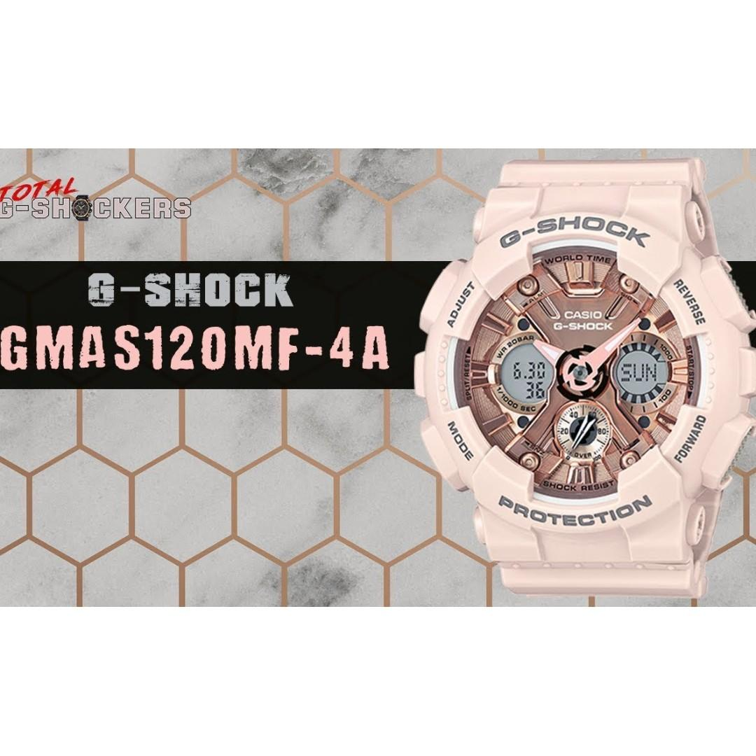 Casio GMA-S120MF-4A G-Shock Analog Digital Sporty Design Rose Gold Dial Peach Color Resin Band Original Watch GMA-S120MF