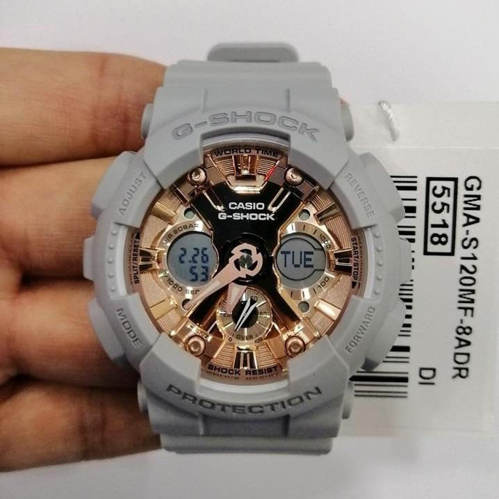 Casio GMA-S120MF-8A G-Shock Unisex Analog Digital Sporty Design Grey Resin Band Rose Gold Dial Original Watch GMA-S120MF