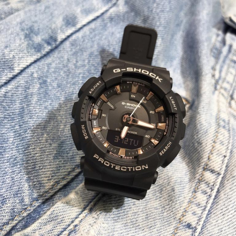 Casio GMA-S130PA-1A G-Shock Analog Digital Sporty Design Classic Black Resin Band Rose Gold Dial Original Watch GMA-S130PA