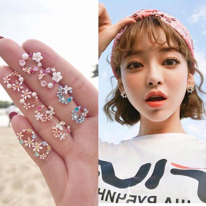Colorful zircon crystal heart flower gold silver stud earrings jewelry gift