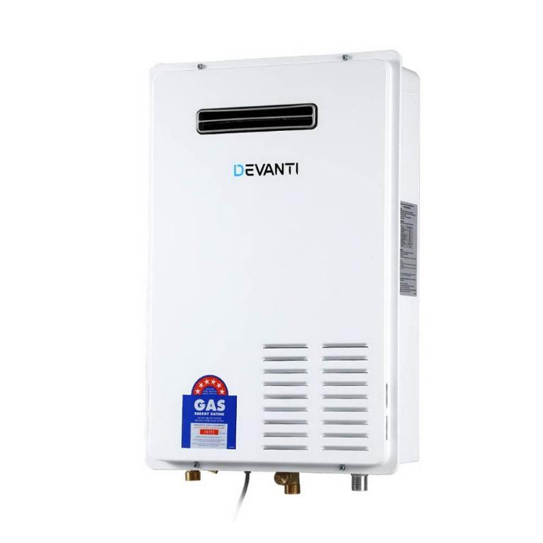 Devanti LPG Gas Water Heater 20L Home Instant Hot Outdoor Household White