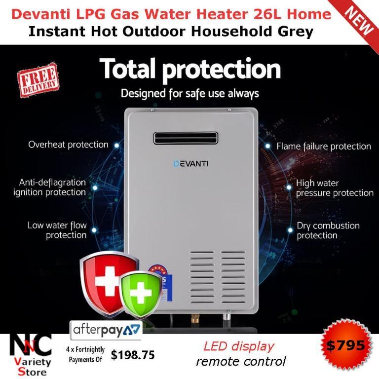 Devanti LPG Gas Water Heater 26L Home Instant Hot Outdoor Household Grey
