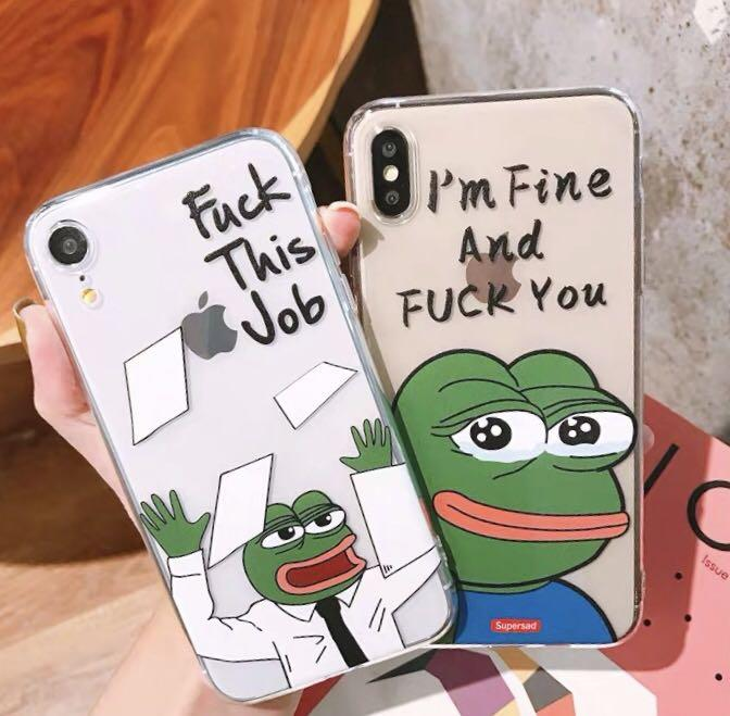 iPhone Case pepe frog 青蛙 軟膠透明殻 XS/XR/XR MAX