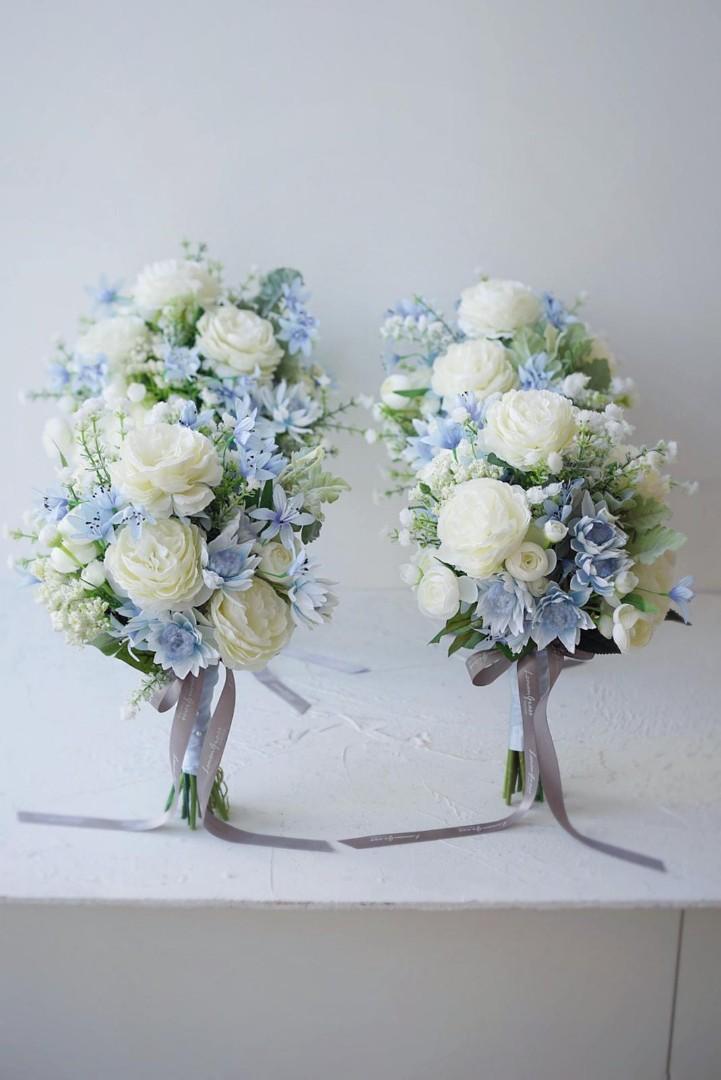 Lemongrass 藍色 絲花 姊妹花球