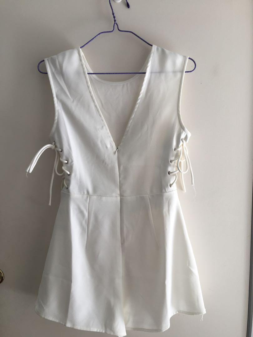 Missguided White Playsuit