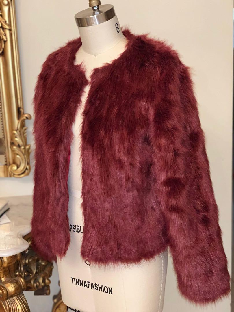 MOSSMAN BURGUNDY FUR JACKET RRP $279.95