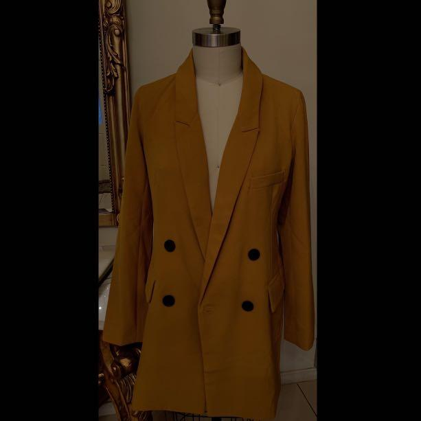 Mustard Orange/ Yellow Blazer/ Dress Double Breasted Suit Blazer