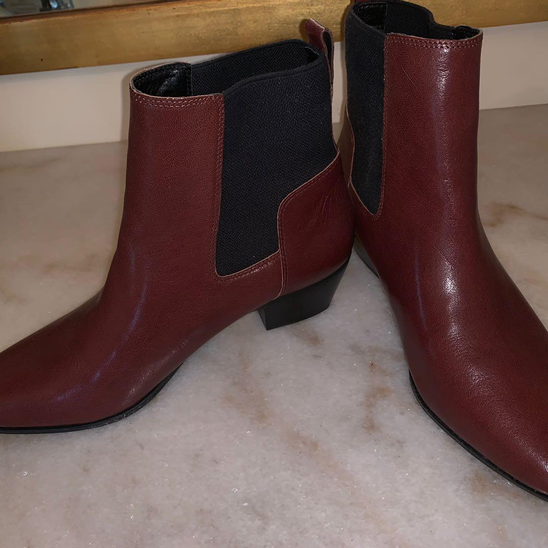 Nine West Burgundy Leather Chelsea Boots